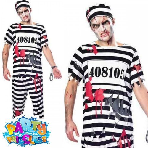 Adult Mens Ladies Zombie Convict Prisoner Costume Halloween Fancy Dress Outfit