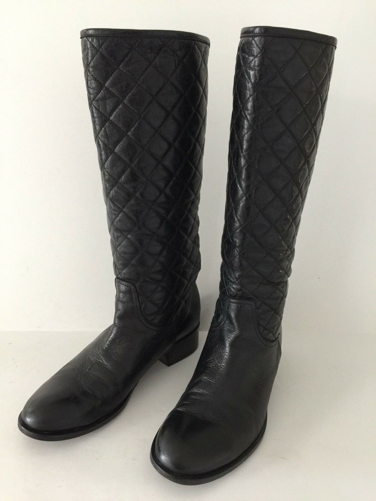 Via Roma 15  women boots, black leather ,quilted ,SZ.39 US 9 handmade in
