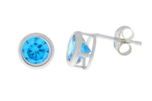 Swiss Blue Topaz Bezel Round Stud Earrings .925 Sterling Silver