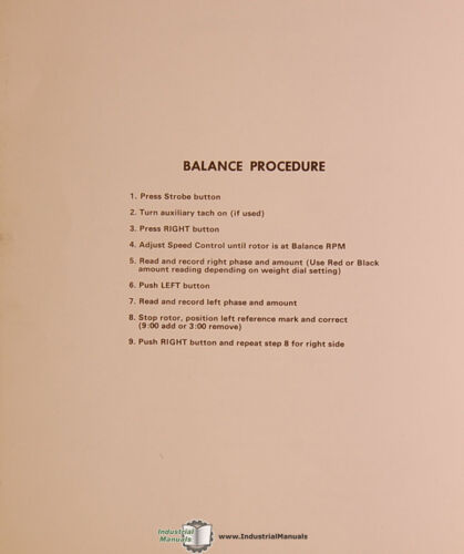 Industrial Balancers Stewart Warner 2000 Service Instructions Manual 1971
