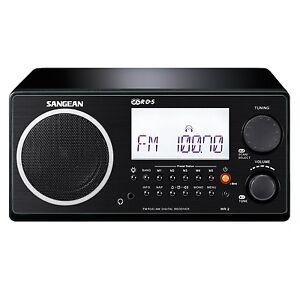 Sangean-WR-2BK-FM-RBDS-AM-Wooden-Cabinet-Digital-Tuning-Receiver-Radio-in-Black