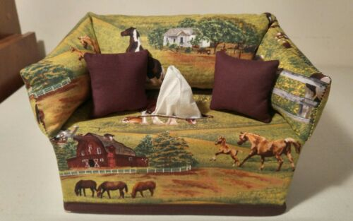 Horses on the Farm Tissue Box Cover Handmade
