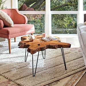 Wood Slice Coffee Table.Details About Natural Teak Wood Slice Slab Coffee Table Live Edge Hairpin Legs Heavy Thick