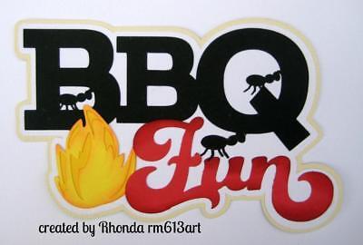 Backyard BBQ Title summer  boy girl paper piecing for premade scrapbook page Rhonda rm613art