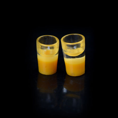 2pcs Miniature Milk Glass Kitchen Orange Drink Food Cup Decor casa delle bamZ1