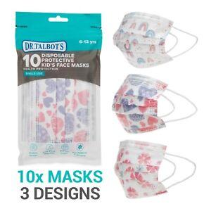 Dr. Talbot's 10 Pack Disposable Kids Face Masks - Girls - Ages 6-12