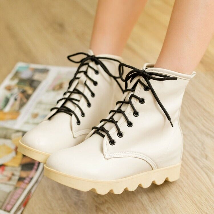 Women Ankle Booties Lace Up Platform Creepers Round Toes Solid Hiden Wedge Shoes