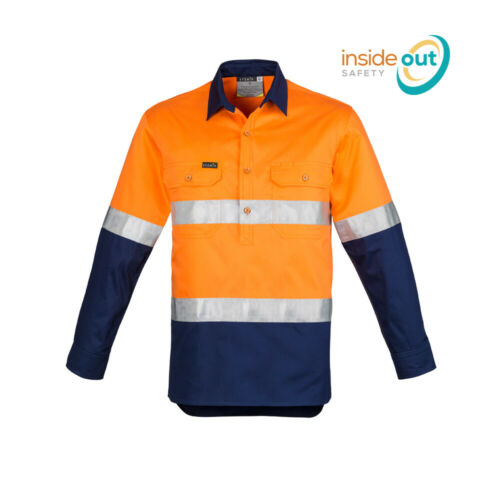 Syzmik Workwear Mens Hi Vis Closed Front L//S Work Shirt Hoop Taped ZW550