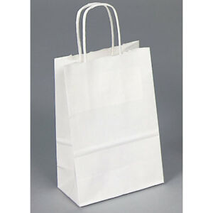 Details About 20 Paper Bags With Handles White Wholesaling Merchandise