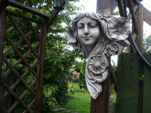 Pietra da giardino Art Nouveau Lady Muro Appeso Ornamento FIORIERA BELLISSIMA pietra Lady