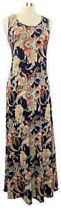ATTITUDES-by-Renee-Size-PS-Blue-Paisley-Stretch-Knit-Sleeveless-Maxi-Dress