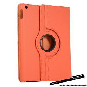 Housse Etui Orange pour Apple iPad 10.2 2020 Coque avec Support Rotatif 360°