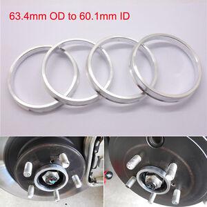 4pcs Car Wheel Hub Centric Spigot Rings 63.4mm OD to 60.1mm ID Aluminium Alloy
