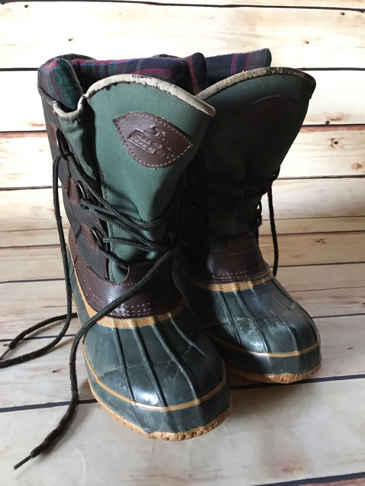 Mens SNO RACER Sz 8 Duck Boots Thermolite Steel Shank Brown Tall Hunting Fishing