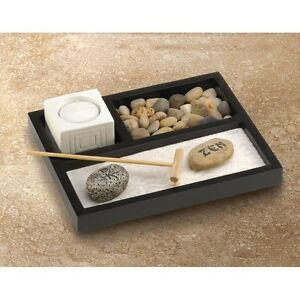 mini office desk zen sand rake rock meditation garden kit. Black Bedroom Furniture Sets. Home Design Ideas