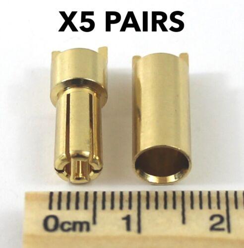 Banana Plug RC 1//2//5//10 pairs *HEAVY DUTY* 5.5mm Lipo Bullet Gold Connectors