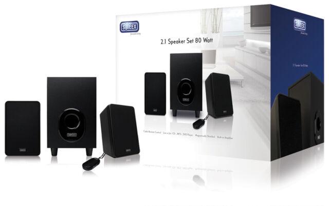 Sweex Lautsprecher 2.1 verdrahtet 3.5 mm 80 W Subwoofer Soundsystem schwarz