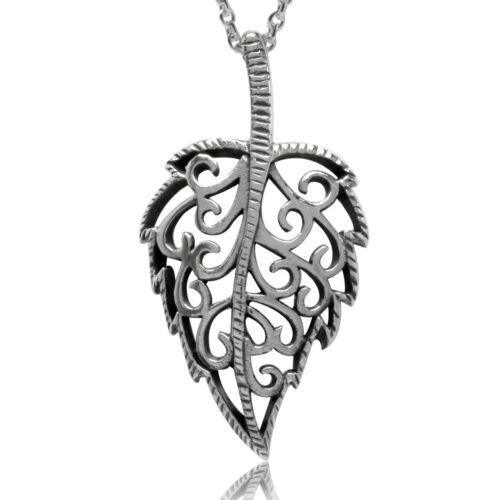925 Sterling Silver Filigree Leaf Pendant w// 18 Inch Chain