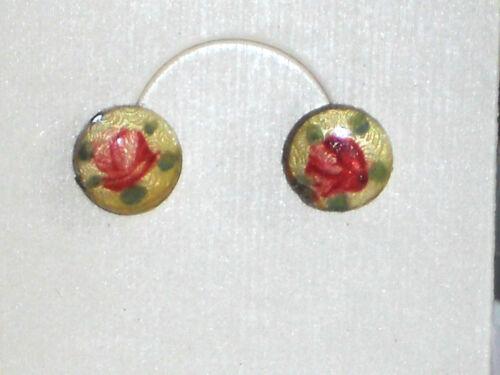 Vintage Earrings Guilloche 14 KT Gold Posts Enamel Rose Round Pierced #1484B