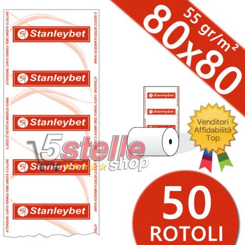 50 ROTOLI TERMICI 80x80 55 GR STAMPA SCOMMESSE LOGO STANLEYBET CARTA TERMICA