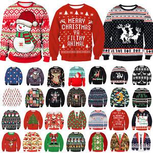 AU-Christmas-Women-Men-Ugly-Long-Sleeve-Hoodies-Pullover-Xmas-Sweater-Jumper-Top