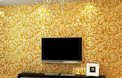 High quality Gold Wall Paper  Wallpaper roll Damask Vicorian Embossed Textured