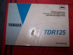6f Owner Manual/bedienungsanleitung/manuel Du Proprietaire Yamaha Tdr125 Tdr 125