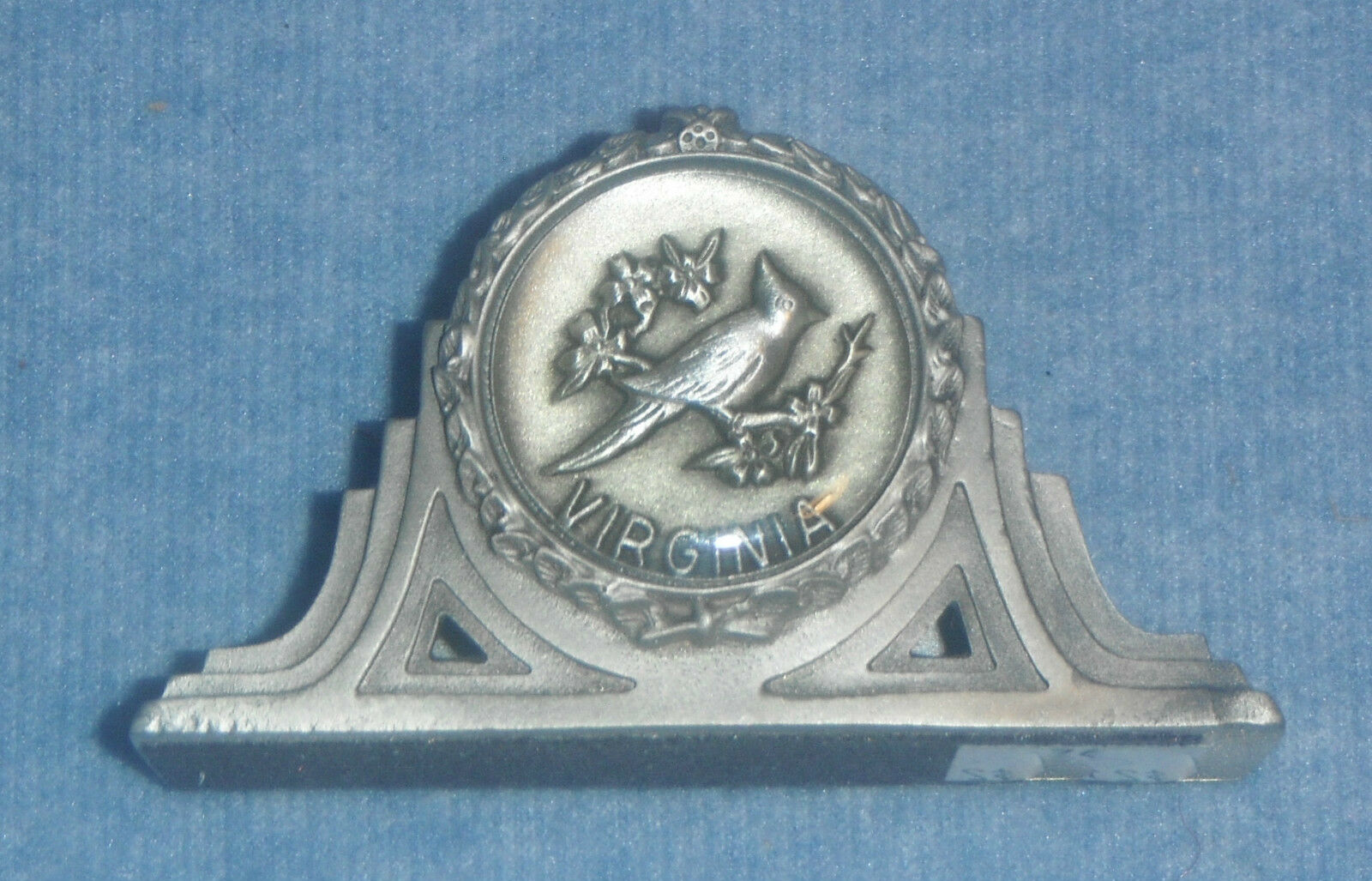 STATE OF VIRGINIA PEWTER BUSINESS CARD HOLDER WITH A CARDINAL BY ...