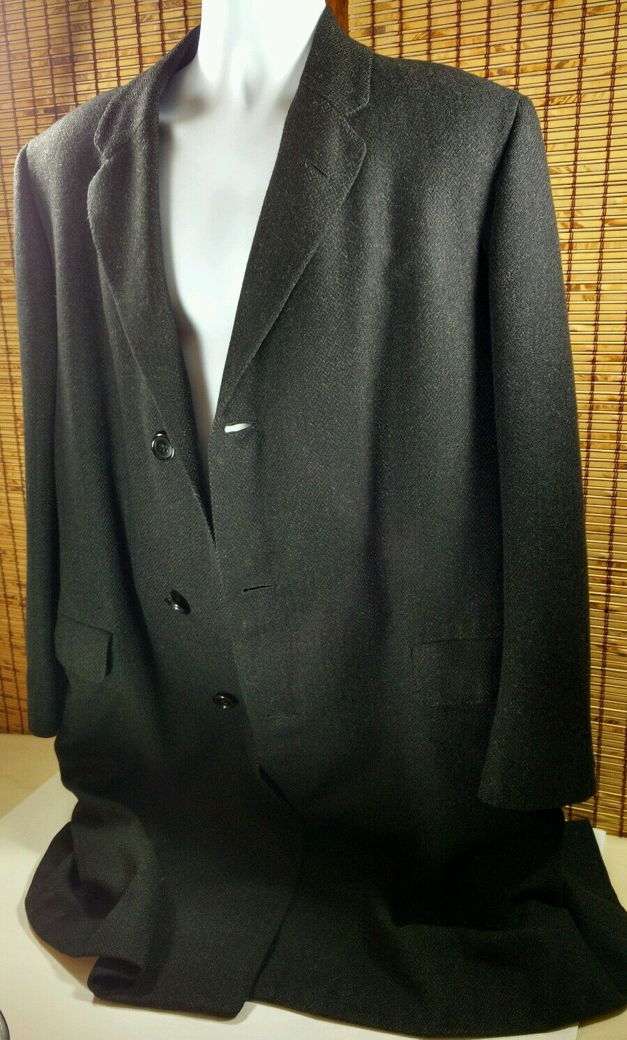 Royal Patina Mens Overcoat Top Trench Coat Saddle Cloth Charcoal 3 Btn Front 48
