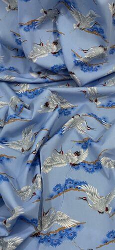 Blue Silver Cranes 100/% Cotton Fabric 45/'/' PRICE PER METER