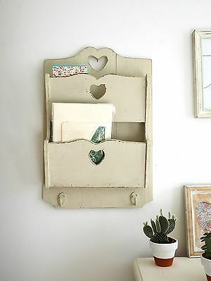 Vintage Shabby Chic Letter and Key Holder Rack Wall Mounted - Solid Wood