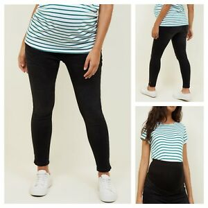 fe4f5f8dd9e95 New Look Black Maternity Jeans Jeggings Over Bump Skinny Angled Hem ...