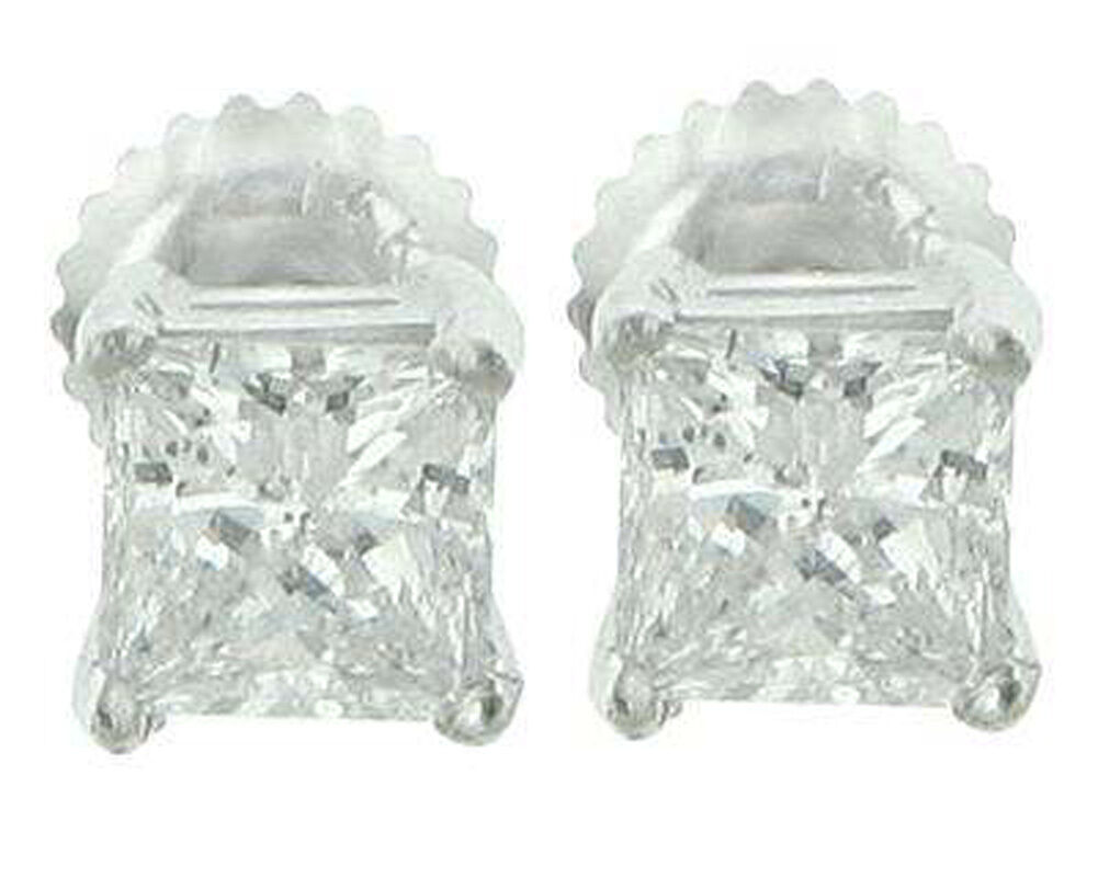 2.12 Ct Princess Cut Diamond Stud Earrings In Platinum