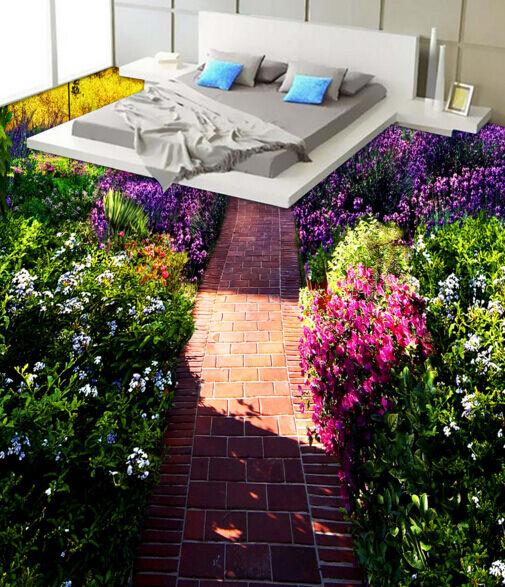 3D Ruta De Jardín De Flores Papel Pintado Mural Parojo Calcomanía de impresión de piso 5D AJ Wallpaper