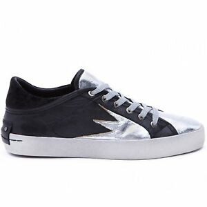 £155 41 39 Metallic amp; 38 London 37 40 Crime Trainers Sneaker Black Leather xq707RnC1
