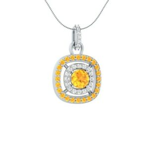 1-45-CT-Round-Solitaire-Citrine-18-034-Necklace-Pendant-14k-White-Gold-GP-Jewelry