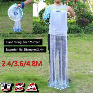 8FT-16FT-Hand-Cast-Fishing-Net-Spin-Network-3-4-039-039-Easy-Throw-Bait-Nylon-Mesh-US