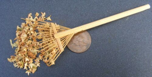 1:12 Scale Wooden Garden Leaf Rake With Loose Leaves Tumdee Dolls House Garden