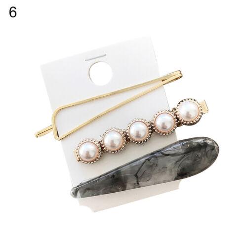 TH/_ BH/_ 1//3Pcs Sweet Women/'s Hair Clip Marble Grain Faux Pearl Hairpin Headwear