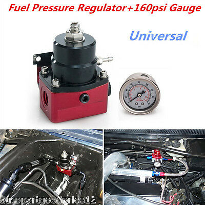 Adjustable Fuel Pressure Regulator 160psi Gauge AN 6 Fitting End Universal
