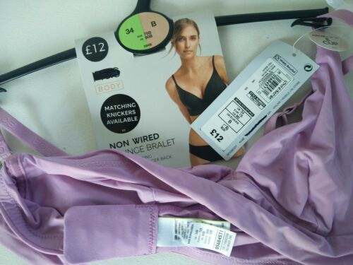 BNWT 34B M/&S PALE MAUVE NON WIRED PLUNGE BRALET BRA CONVERTS RACER BACK RRP £12