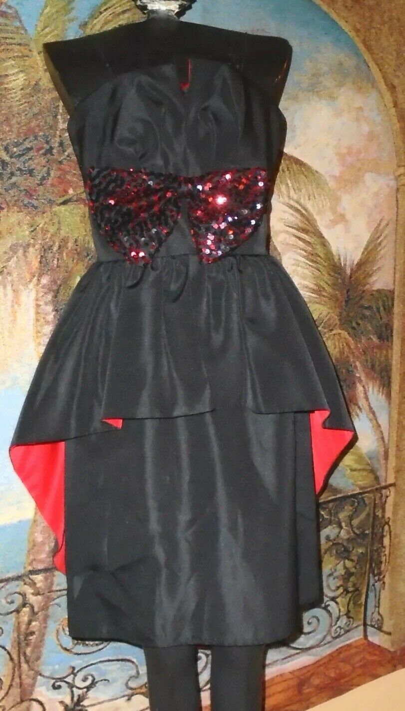 1980's Strapless Peplum Evening Cocktail Gown Huey Waltzer 7-8 RED & Black