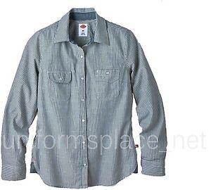 Dickies Shirts Women Striped Denim Shirt Long Sleeve Top