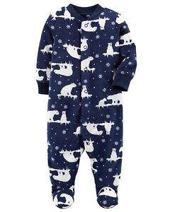 a58ba5780 New Carter s Fleece Sleep n Play Navy Polar Bear Print Newborn 3m 6m ...