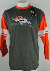 Denver-Broncos-NFL-Majestic-Men-039-s-Heather-Grey-Orange-Power-Hit-Long-Sleeve-Tee