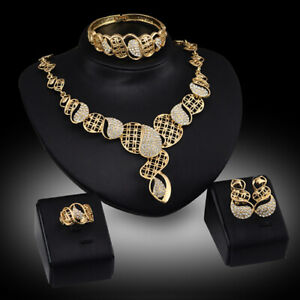 Crystal-Choker-Necklace-Earring-Bangle-Bracelet-Ring-Jewelry-Set-Band