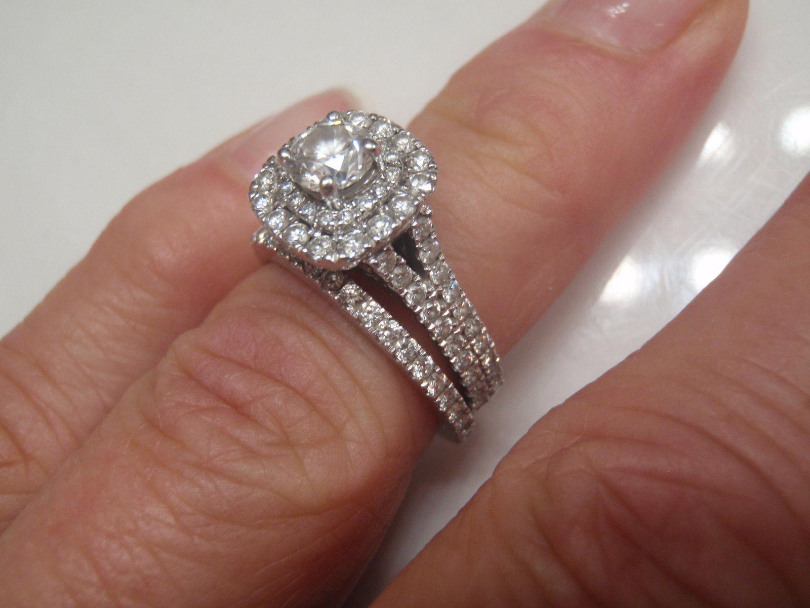 Halo Engagement Bridal Ring Set 2.50 Ct Round Cut Diamond 14K White gold Finish