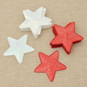 10Pcs-Star-Sequin-Patch-Cloth-Decoration-Embroidery-Sew-On-DIY-Red-White-Craft