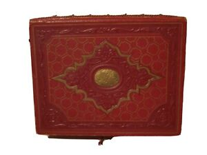 Vintage FAUX Red Leather Box Gold Embossed Design