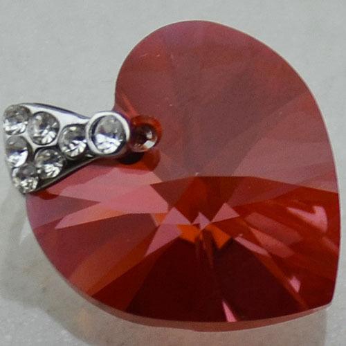 Silver Plate SWAROVSKI ELEMENTS 6228 Heart Pendant Many Colors